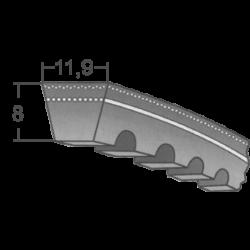 AVX 11,9-es ékszíjak (Fogazott autóipari szíjak)